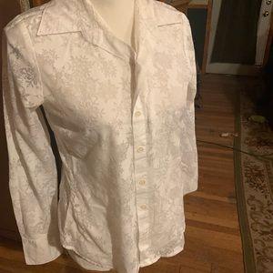 White snowflake button down shirt